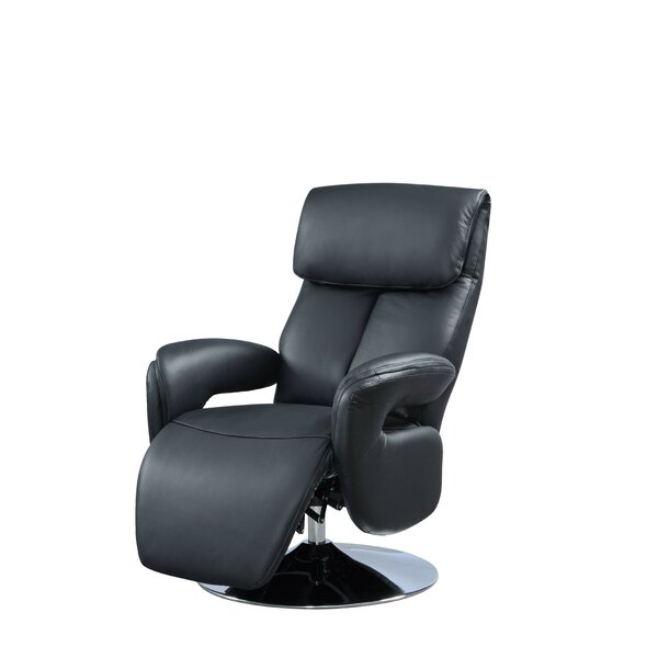 Manteo Leather Power Swivel Recliner by Latitude R