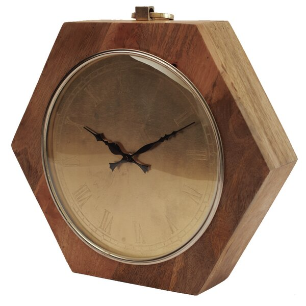 Wooden Hexagon Shaped Clock by Yosemite Home Decor