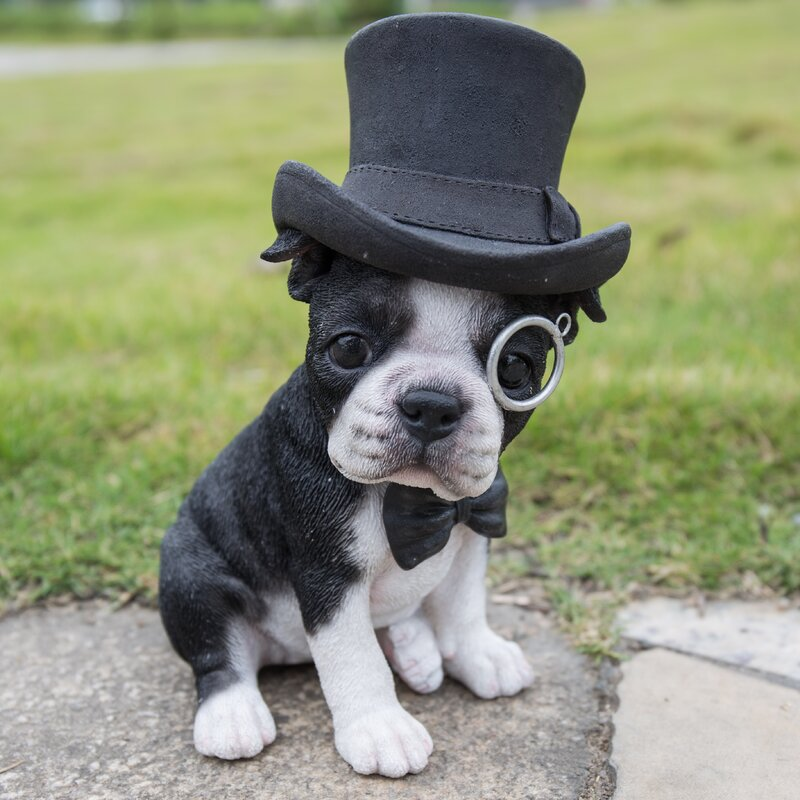 Hi Line Gift Ltd Boston Terrier With Top Hat Statue