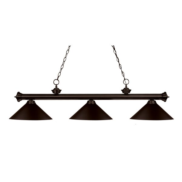 Zephyr 3-Light Cone Metal Shade Billiard Light by