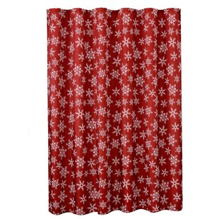 Best Reviews Decorative Christmas Printed Snowflakes Design Shower Curtain ByViolet Linen