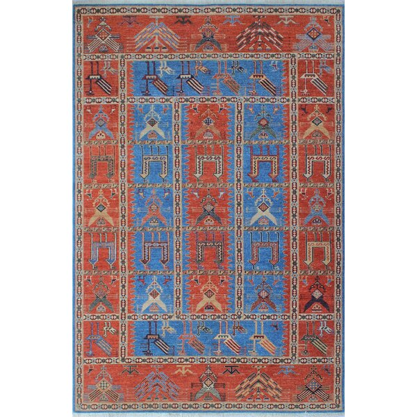 One-of-a-Kind Woodmoor Pashtun Hand-Knotted Wool Blue Area Rug by Loon Peak