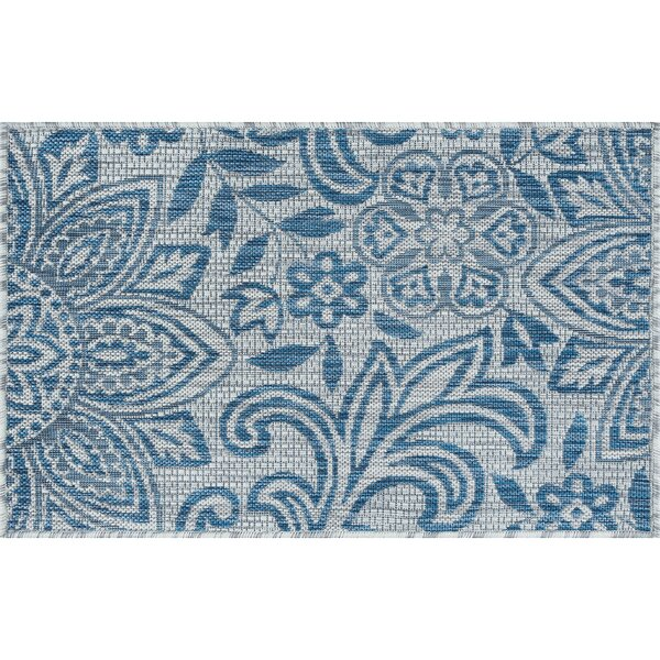 Koby Transitional Floral Cream/Blue Indoor/Outdoor Area Rug by Red Barrel Studio