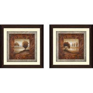 'Calming Landscape' 2 Piece Framed Graphic Art Print Set by Red Barrel Studio