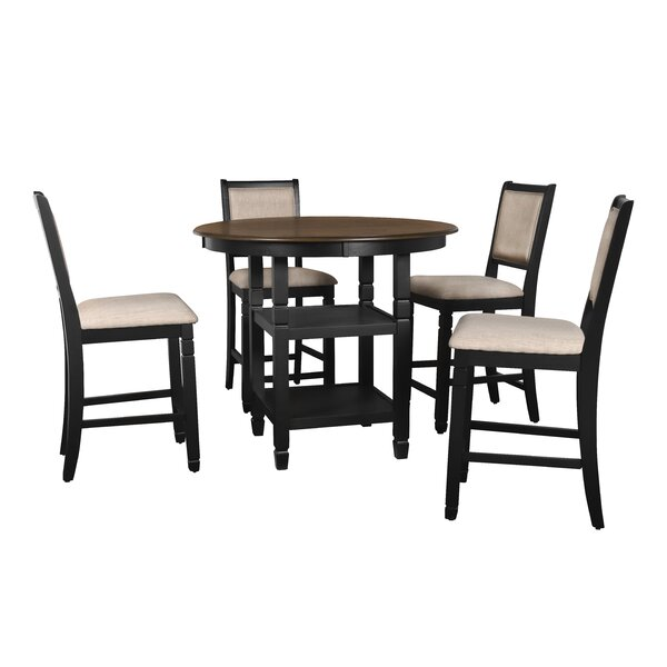 Borodale 5 - Piece Counter Height Solid Wood Dining Set by August Grove August Grove