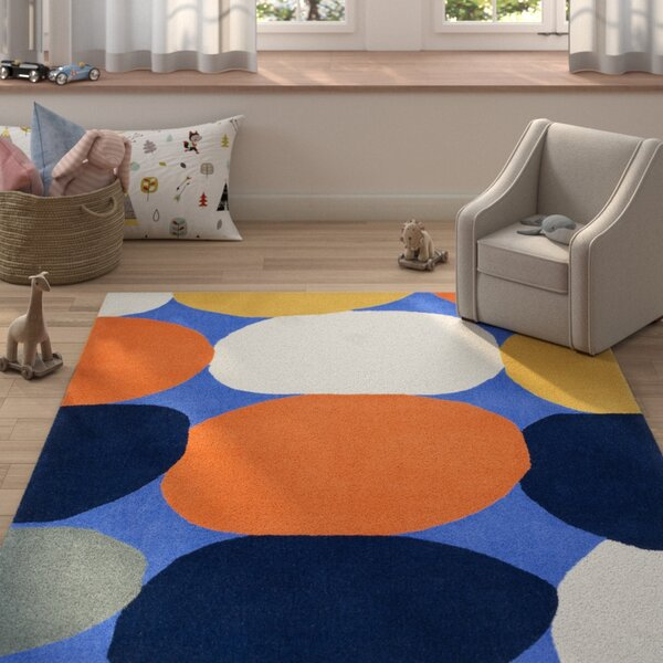 Hackman Hand-Tufted Navy Area Rug by Zoomie Kids