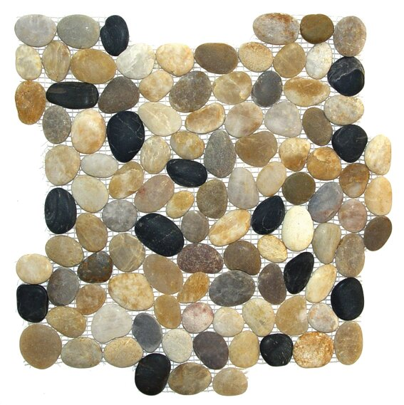 Tumbled Random Sized Natural Stone Mosaic Tile in Brown/Black by FuStone