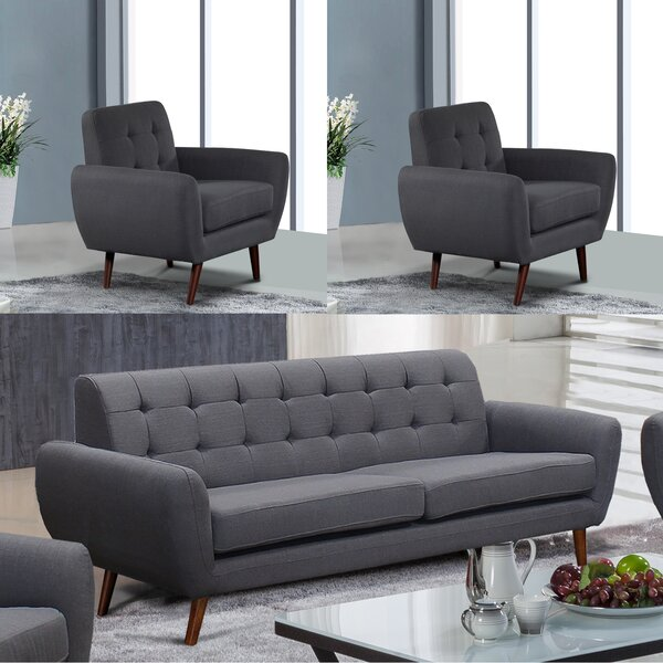 Yearwood Modern 3 Piece Living Room Set by George Oliver