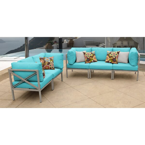 Carlisle 5 Piece Outdoor Sectional Set with Cushions by TK Classics
