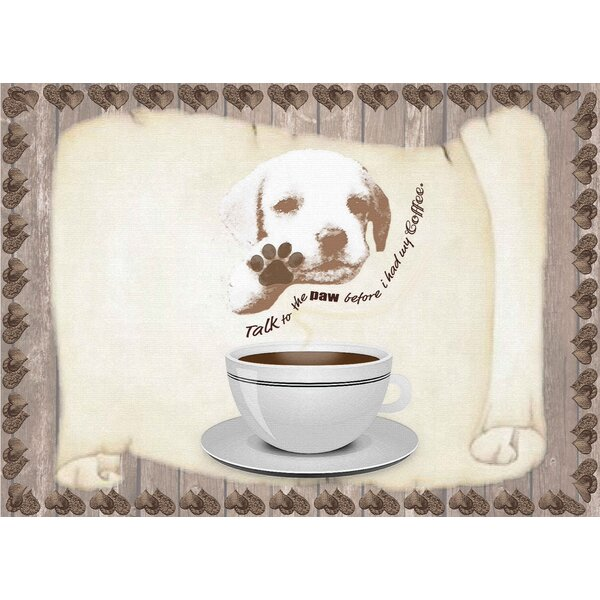Coffee Talk to the Paw Foam Placemat (Set of 4) by Dainty Home
