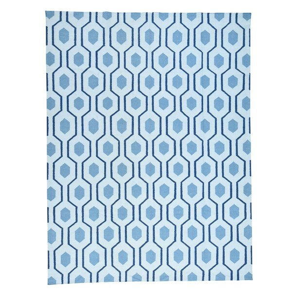 Geometric Reversible Kilim Flat Weave Hand-Knotted Blue Area Rug by Ivy Bronx