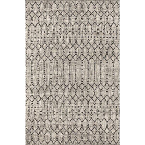 Azaiah Moroccan Geometric Textured Weave Light Gray Indoor/Outdoor Area Rug by Bungalow Rose
