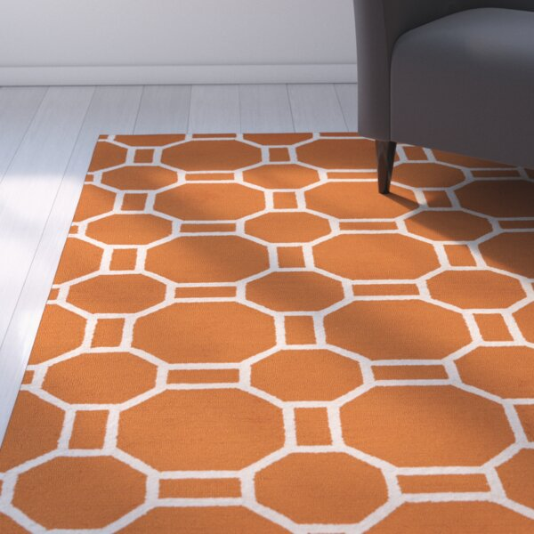 Evangeline Hand-Tufted Orange Indoor/Outdoor Area Rug by Ebern Designs