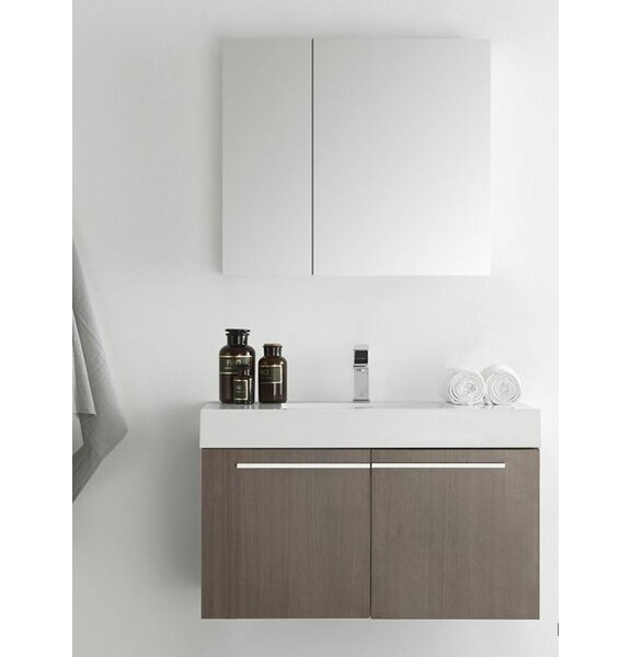 Senza 36 Vista Single Wall Mounted Modern Bathroom Vanity Set with Medicine Cabinet by Fresca