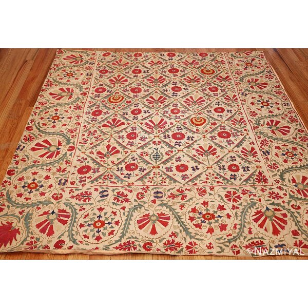 One-of-a-Kind Hand-Knotted Before 1900 Suzani Red/Beige 5'4 x 5'7 Linen Area Rug