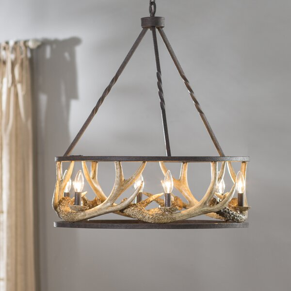 Los Angeles 6-Light Candle Style Wagon Wheel Chandelier By Loon Peak