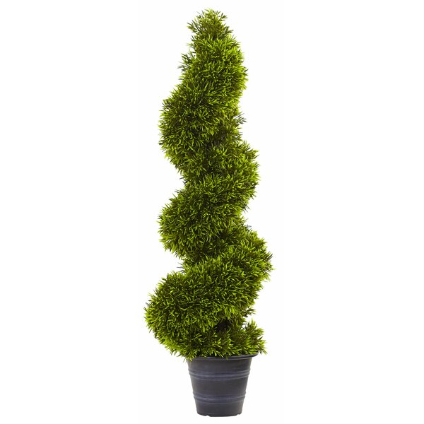 Grass Spiral Round Tapered Topiary in Planter by Nearly Natural