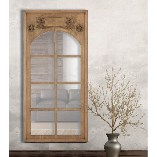 Natural Wood Stained Window Frame Decorative Wall Mirror by Majestic Mirror