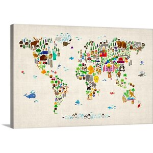 'Animal World Map' by Michael Tompsett Graphic Art on Wrapped Canvas by Great Big Canvas
