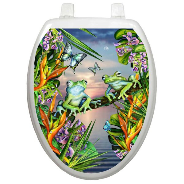 Themes Frogs In The Moonlight Toilet Seat Decal by Toilet Tattoos