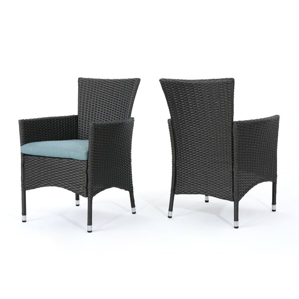 Faison Patio Dining Chair with Cushion (Set of 2) by Charlton Home