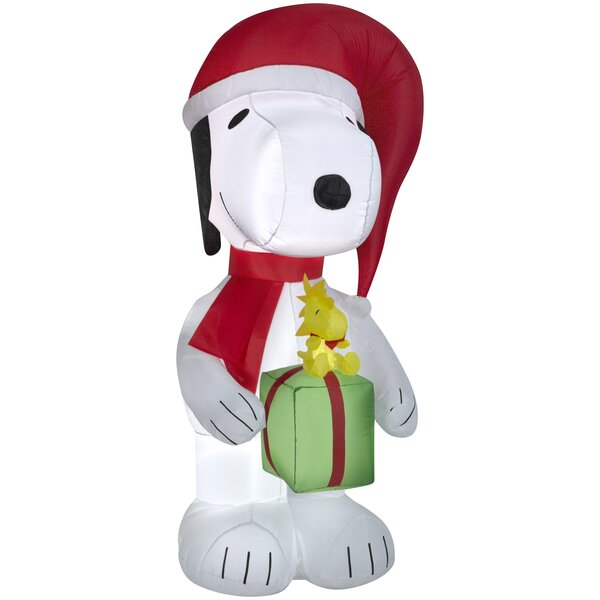 Snoopy Holding Present with Woodstock Christmas Ov