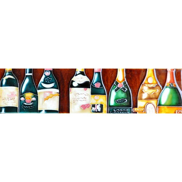 Horizontal Wine Bottle Tile Wall Decor by Continental Art Center