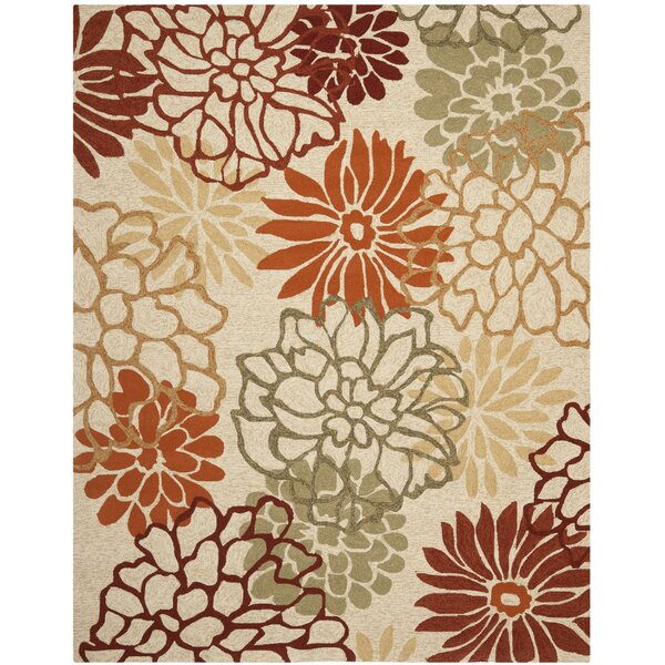 Aldford Hand-Hooked Beige/Orange Indoor/Outdoor Area Rug by Red Barrel Studio