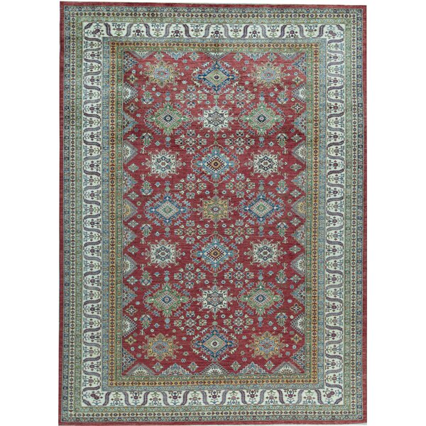 Oriental Hand-Knotted Wool Red/Beige Area Rug
