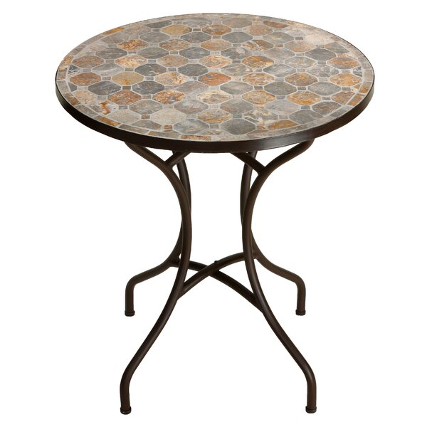 Hillesden Mosaic Round Indoor/Outdoor Metal Bistro Table by Fleur De Lis Living