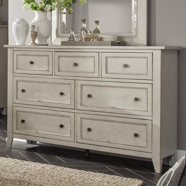 Stoughton 7 Drawer Dresser in Weathered White by Rosecliff Heights