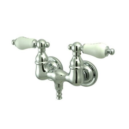 Vintage Double Handle Wall Mount Clawfoot Tub Faucet Trim Porcelain Cross Handle by Elements of Design