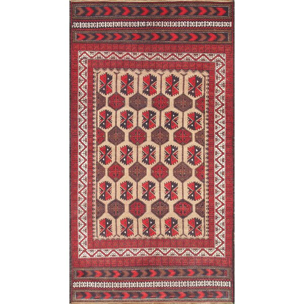 Balouch Vintage Hand Knotted Wool Camel/Ivory Area Rug by Pasargad