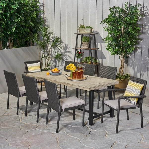 Gilmartin Outdoor 9 Piece Dining Set with Cushions by Highland Dunes