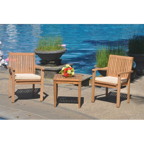 Edwa 3 Piece Teak Bistro Set by Rosecliff Heights
