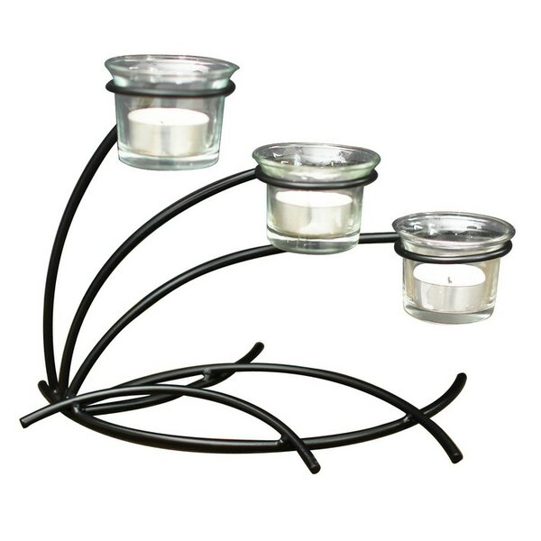Metal and Glass Candelabra by Adeco Trading