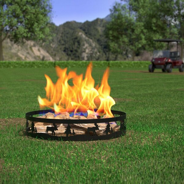 Boston Deer and Trees Steel Wood Burning Fire Ring by Regal Flame
