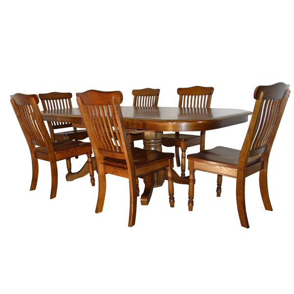 Negron Long Double Pedestal 7 Piece Extendable Solid Wood Dining Set by Canora Grey