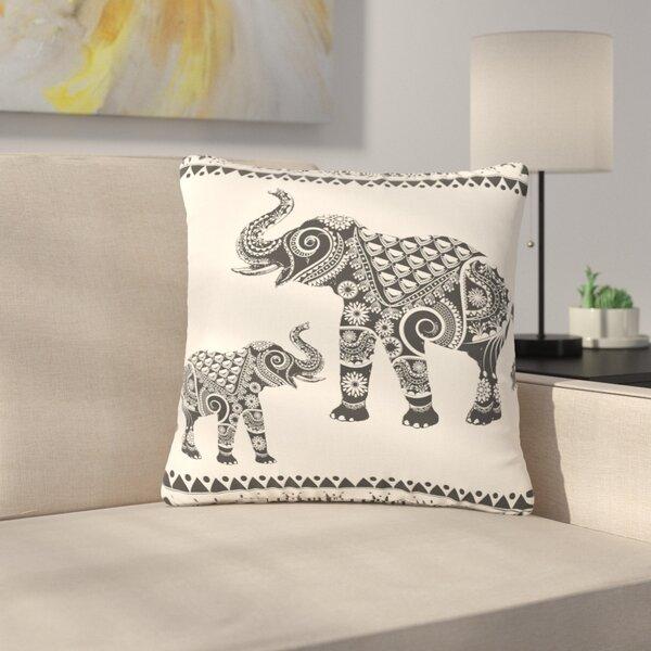Famenxt Ornate Indian Elephant-Boho Outdoor Throw Pillow by East Urban Home