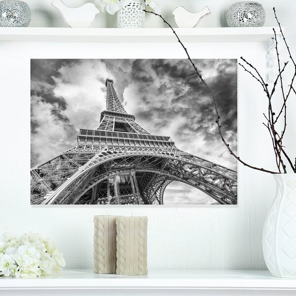 Black and White View of Paris Eiffel Tower Cityscape Photographic Print on Wrapped Canvas by Design Art