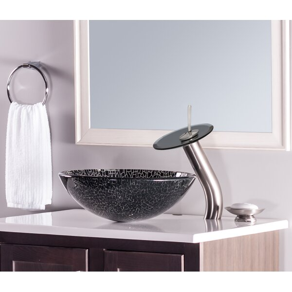 Ragnatela Glass Circular Vessel Bathroom Sink by Novatto