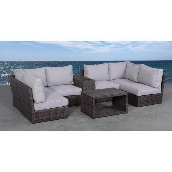 Cochran 8 Piece Rattan Sectional Seating Group with Cushions by Rosecliff Heights Rosecliff Heights