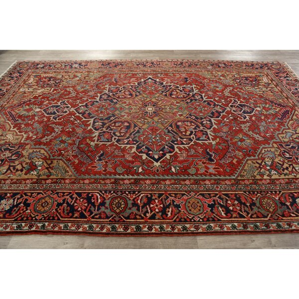One-of-a-Kind Schnecksville Hand-Knotted Before 1900 Serapi Red 8'3 x 11'8 Wool Area Rug