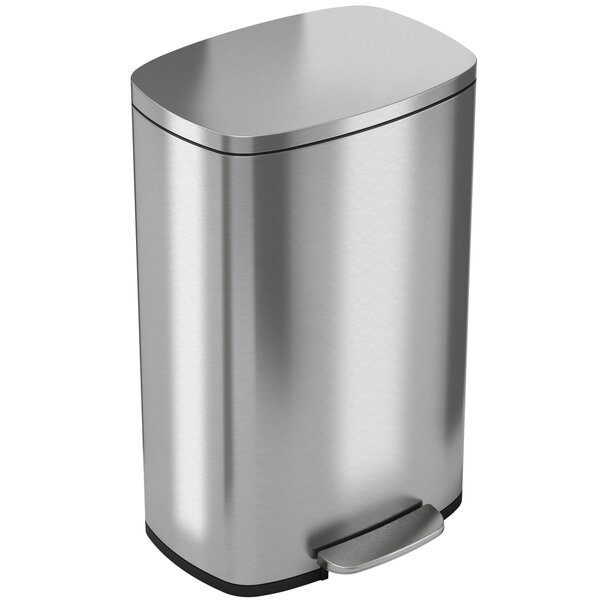 Soft Step Stainless Steel Kitchen 13.2 Gallon Step On Trash Can by iTouchless