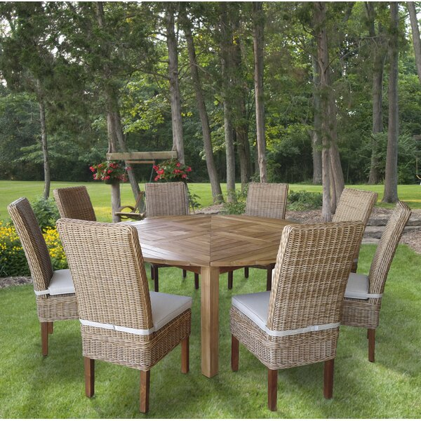 Hamish 9 Piece Teak Dining Set with Cushions by Gracie Oaks