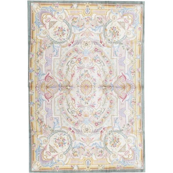 One-of-a-Kind Savonnerie Hand-Knotted Before 1900 Beige 11'1 x 16'1 Wool Area Rug
