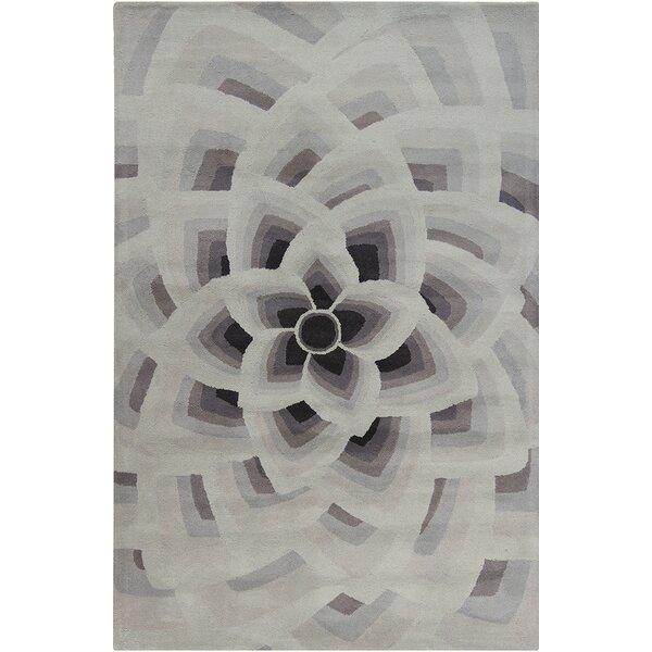Oritz Hand Tufted Wool Gray/Black Area Rug by Brayden Studio