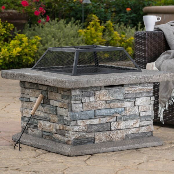 Coonrod Faux Stone Wood Burning Fire Pit Table by
