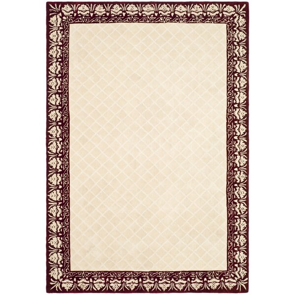 Caine Glam Hand Tufted Ivory/Red Bordered Area Rug by Darby Home Co