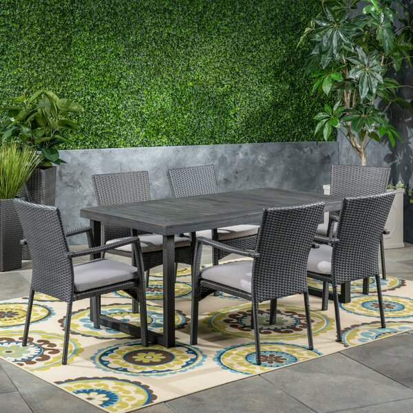 Coffelt Outdoor 7 Piece Dining Set with Cushions by Highland Dunes